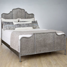 Abington Queen Complete Bed in Silver Bisque Finish