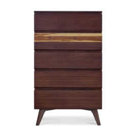 Azara 5-Drawer High Chest in Sable Finish