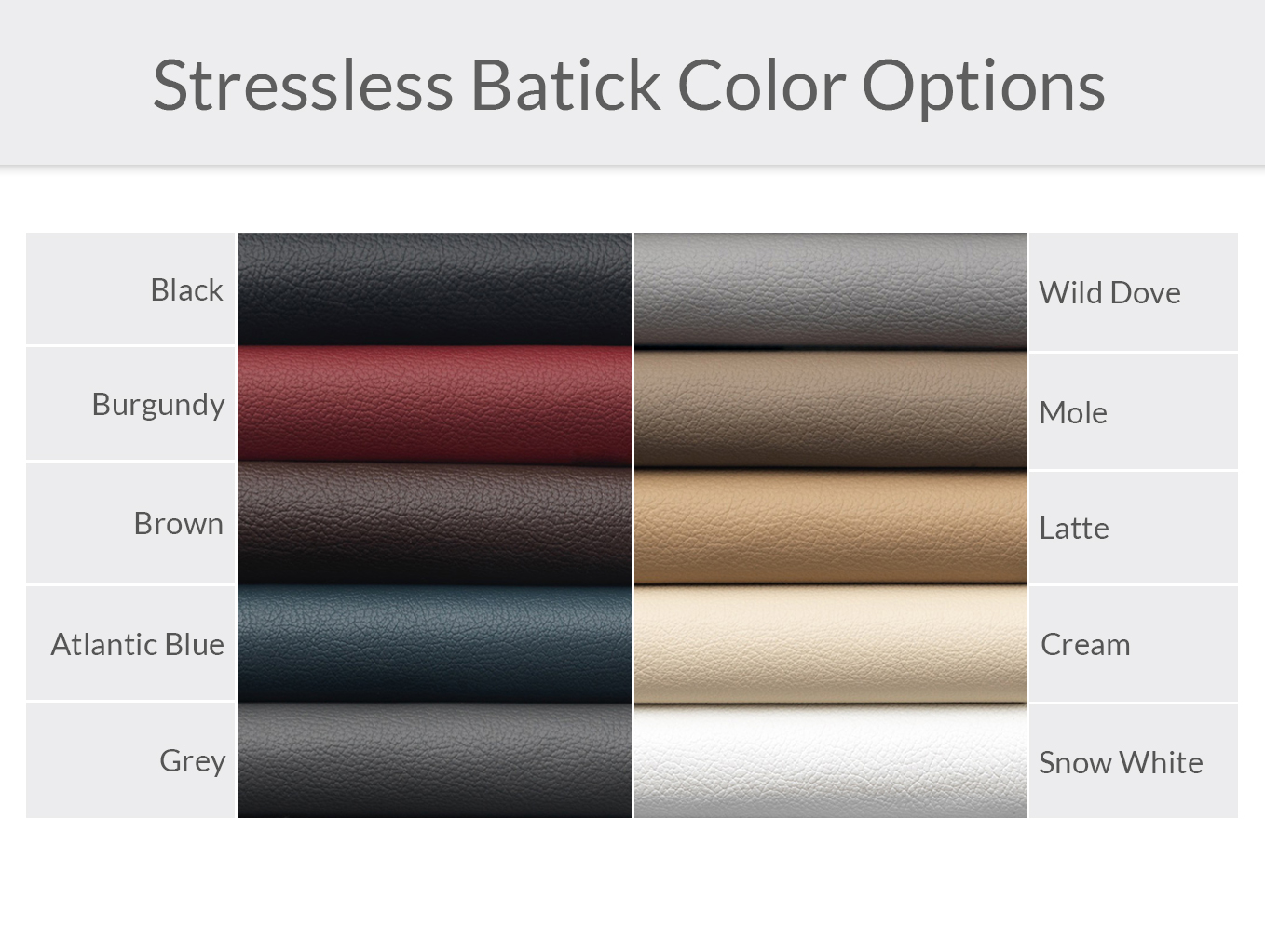 Stressless Batick Leather Color Options