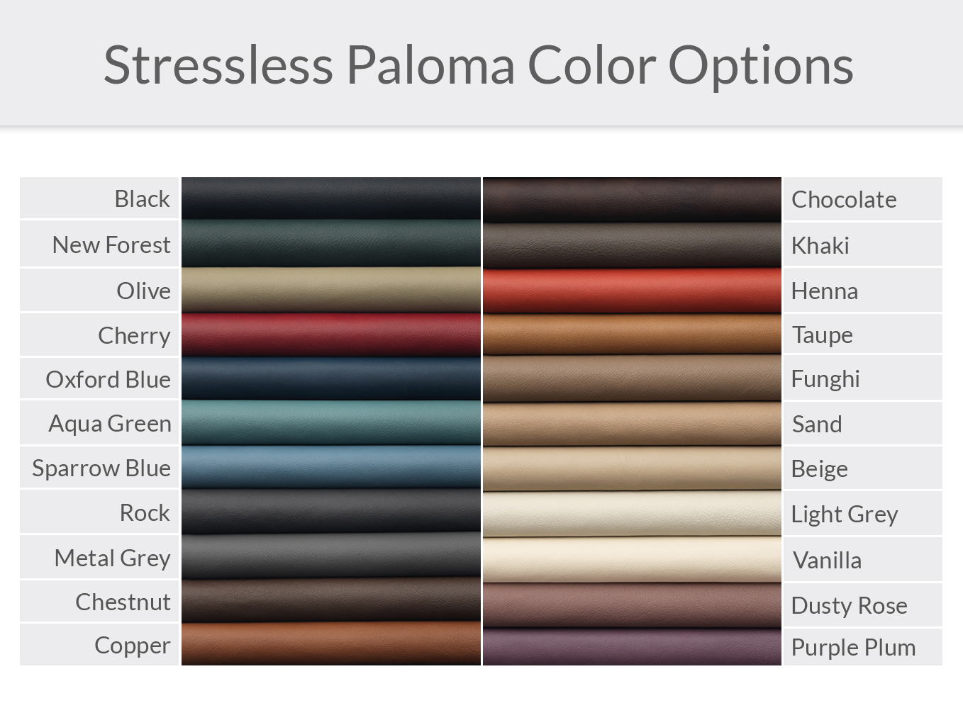 Stressless Paloma Leather Color Options