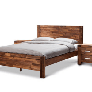 Acacia Phillipe Bed Frame Java Rustic with Nightstands
