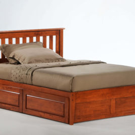 Rosemary K-Series Complete Bed in Cherry with Cinnamon Storage Drawers Closed