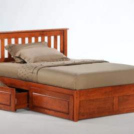 Rosemary K-Series Complete Bed in Cherry with Cinnamon Storage Drawers Opened
