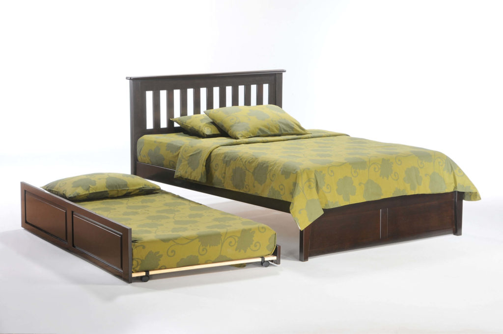 Rosemary K-Series Complete Bed in Dark Chocolate with Trundle Opened