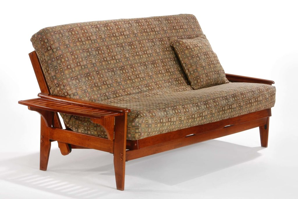 Naples Futon in Cherry with One Tray Up