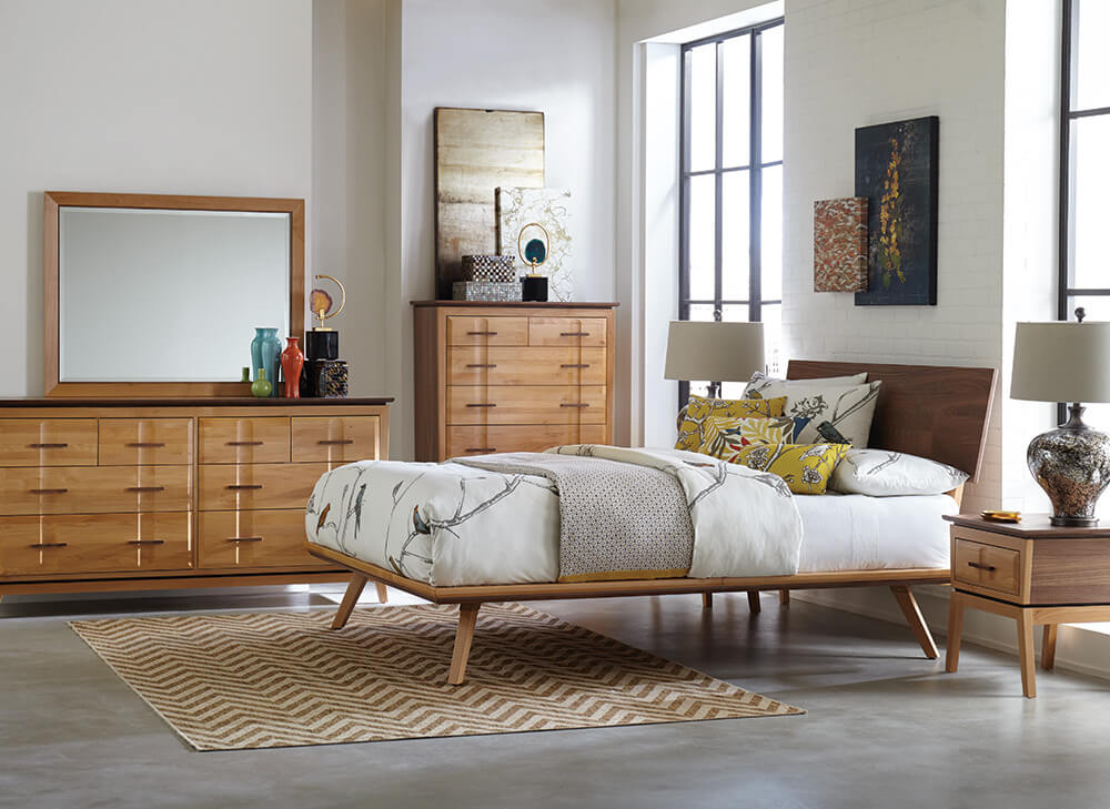 Addison Adjustable Headboard Platform Bed in Black Walnut Lifestyle