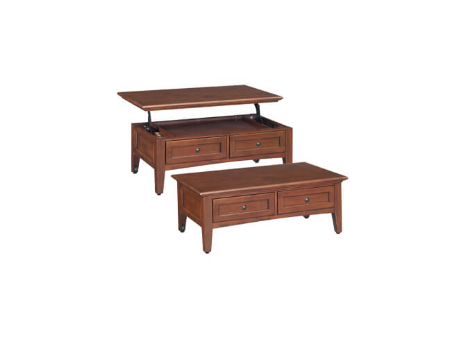 McKenzie Lift Top Coffee Table in Glazed Antique Cherry