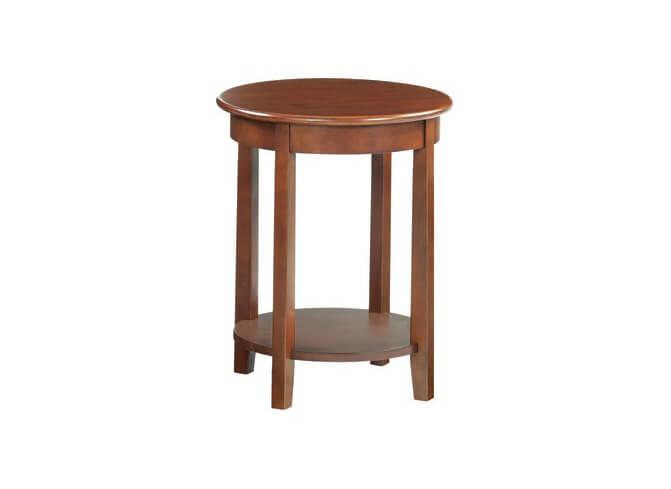 McKenzie Round Accent Table in Glazed Antique Cherry