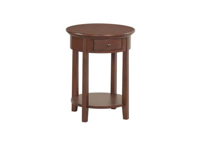 McKenzie Round Side Table in Glazed Antique Cherry