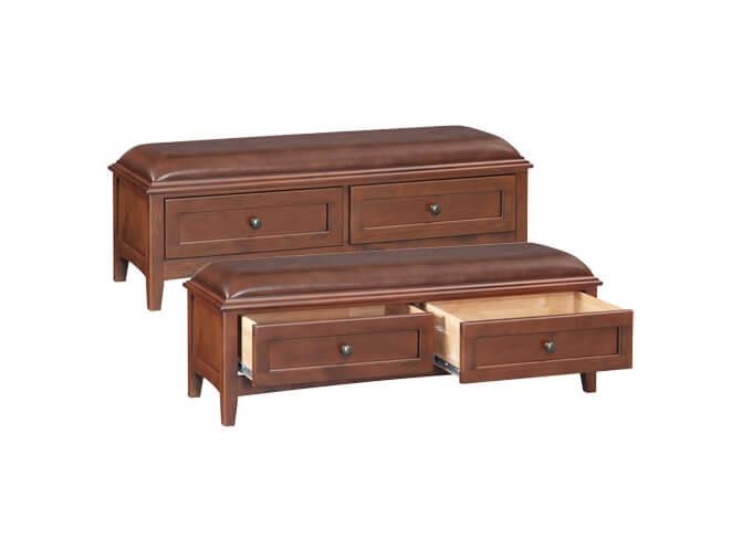 McKenzie 2-Drawer Bench in Glazed Antique Cherry
