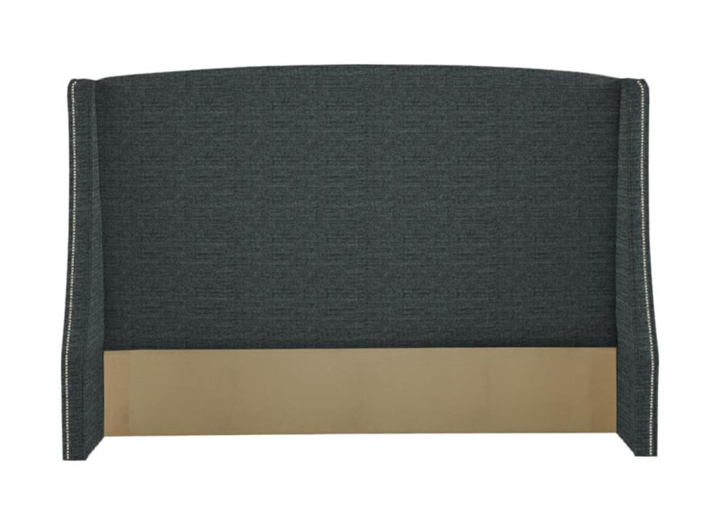 Fisher Headboard in Black 100CR-66 with Pewter Nails