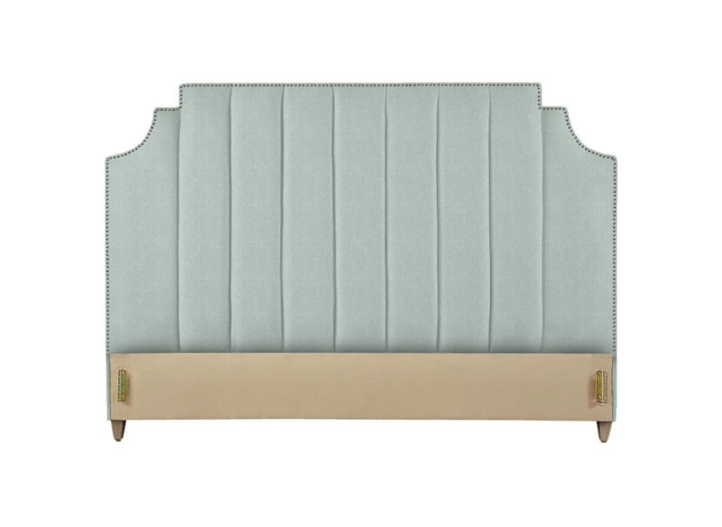 Lindley Headboard in Seafoam with Black Nickel Nails and Washed Oak Legs