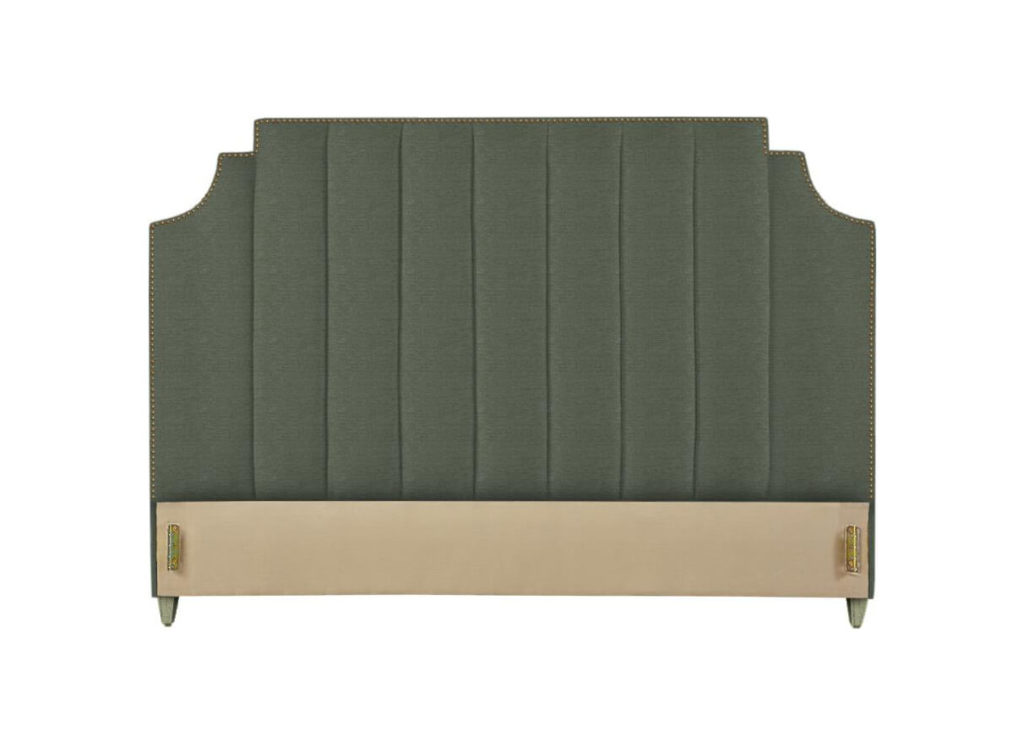 Lindley Headboard in Green with Brass Nails and Pebble Leg Finish