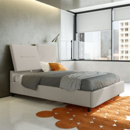 Harmony Bed with Light Fabric in Lifestyle Setting
