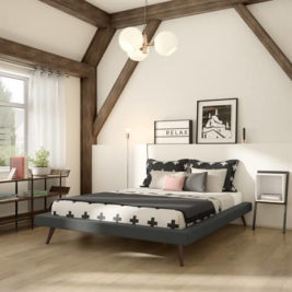 Maikki Bed with Upholstery in Lifestyle Setting