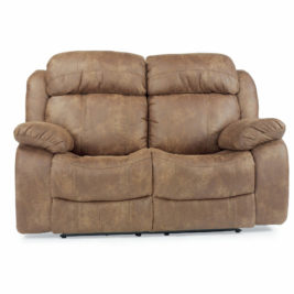 Como Fabric Loveseat in Brown Fabric Front View