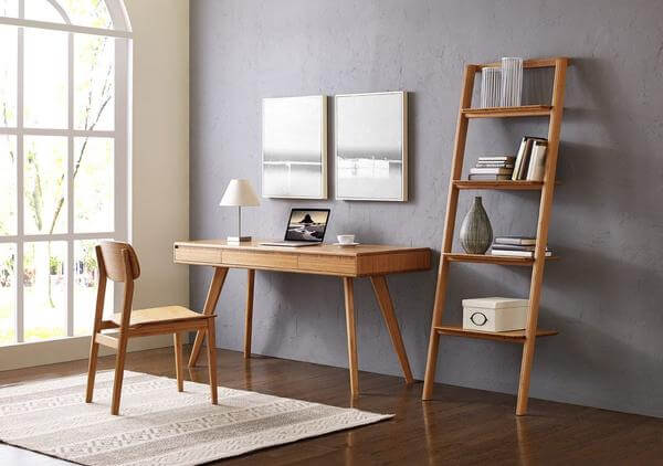 Currant Leaning Bookshelf Caramelized in Lifestyle Setting