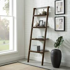 Currant Leaning Bookshelf Dark Walnut in Lifestyle Setting