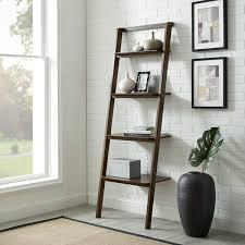 Currant Leaning Bookshelf Dark Walnut in Lifestyle Setting