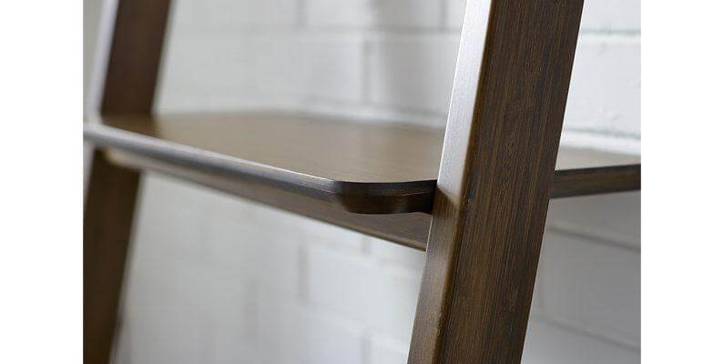 Currant Leaning Bookshelf in Dark Walnut Detail