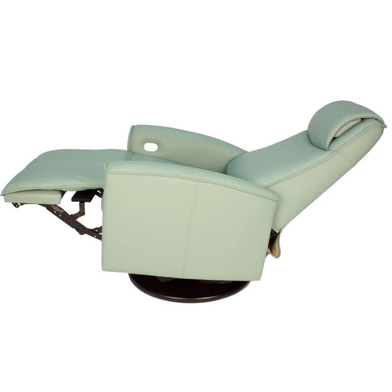 Urban Recliner Sea Green Leather Profile View