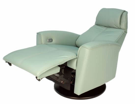 Urban Recliner Sea Green Leather Reclined