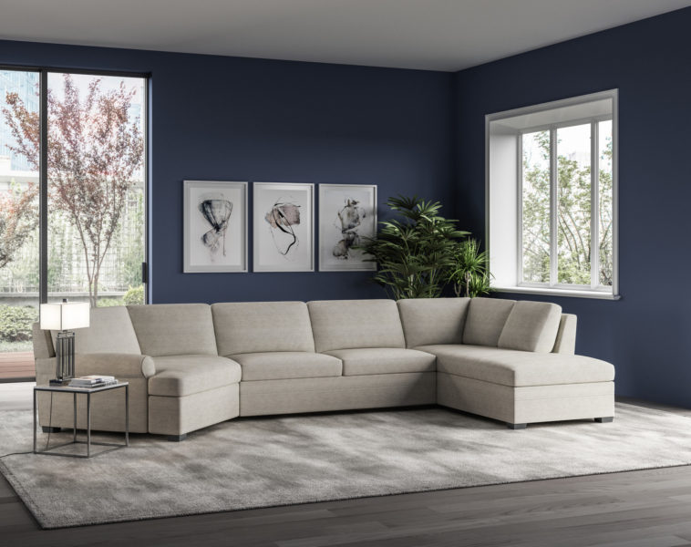 Gaines Roll Arm Sectional Sleeper Day Lifestyle