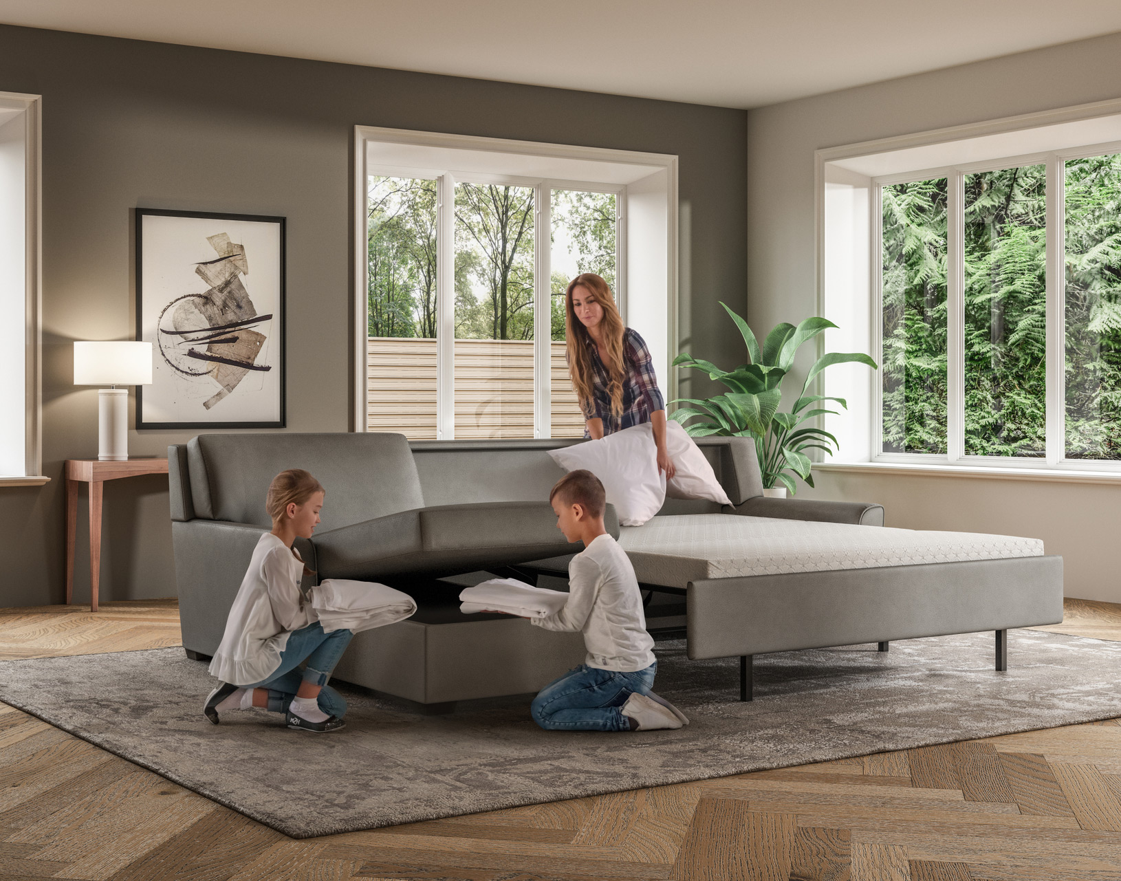 Klein Modern Sleeper Sofa Lifestyle with Kids Cleaning Up