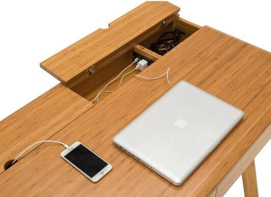 Greenington Jasmine Desk Caramelized Storage View