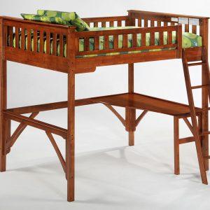 Ginger Ful Loft Bunk Cherry w Curvy Desk