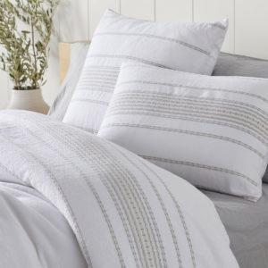Coyuchi Rippled Stripe Duvet Cover - Alpine White