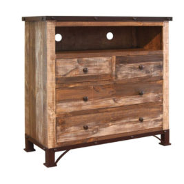 Antique Distressed Pine 4-Drawer Media Chest