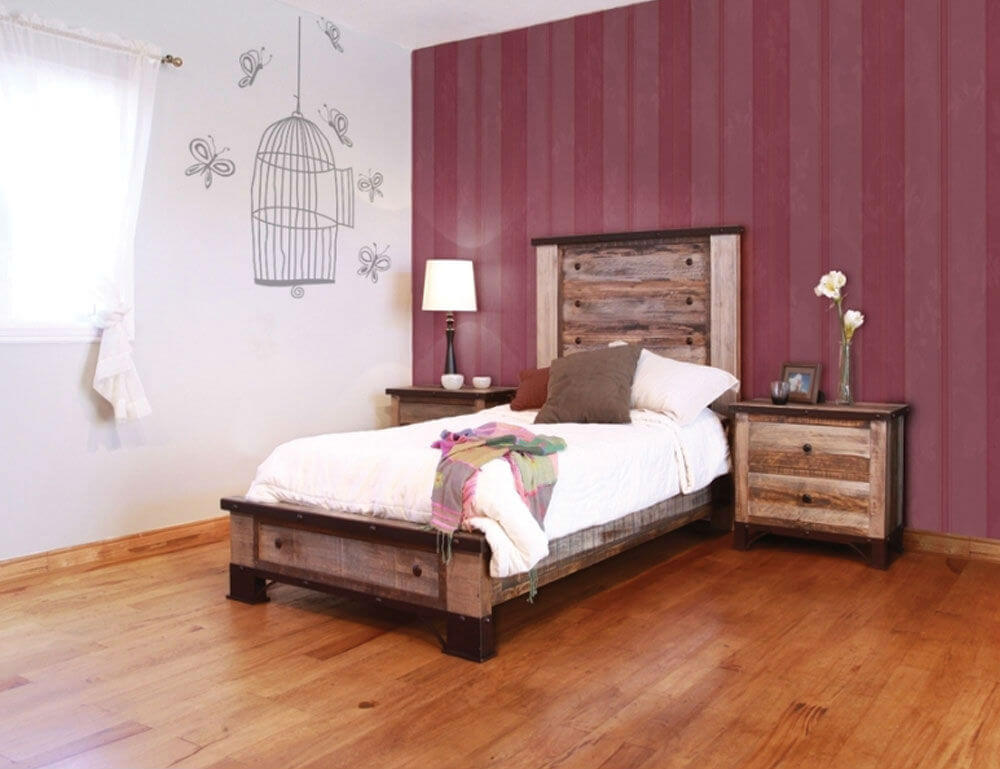 Antique Distressed Pine Bedroom Set by IFD | Seattle
