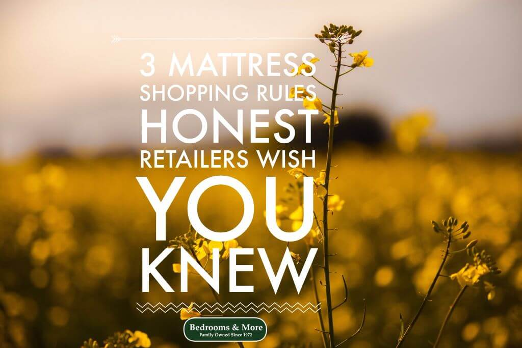 Field of yellow flowers with headline: 3 mattress shopping rules honest retailers wish you knew