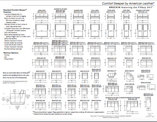 Breckin Sleeper Sofa Spec Sheet