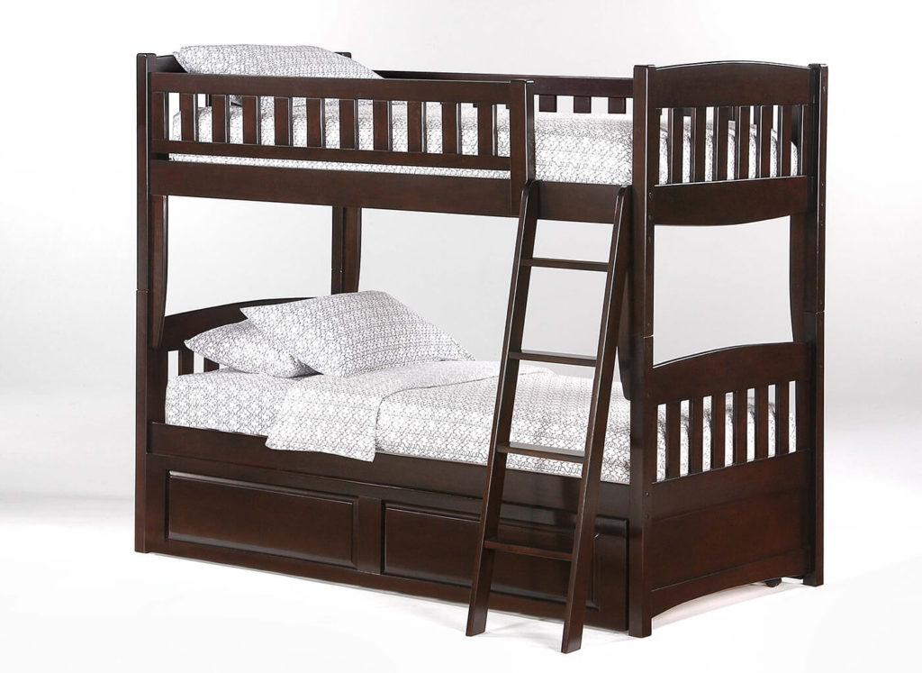 Cinnamon Twin Bunk in Dark Chocolate (shown with trundle)