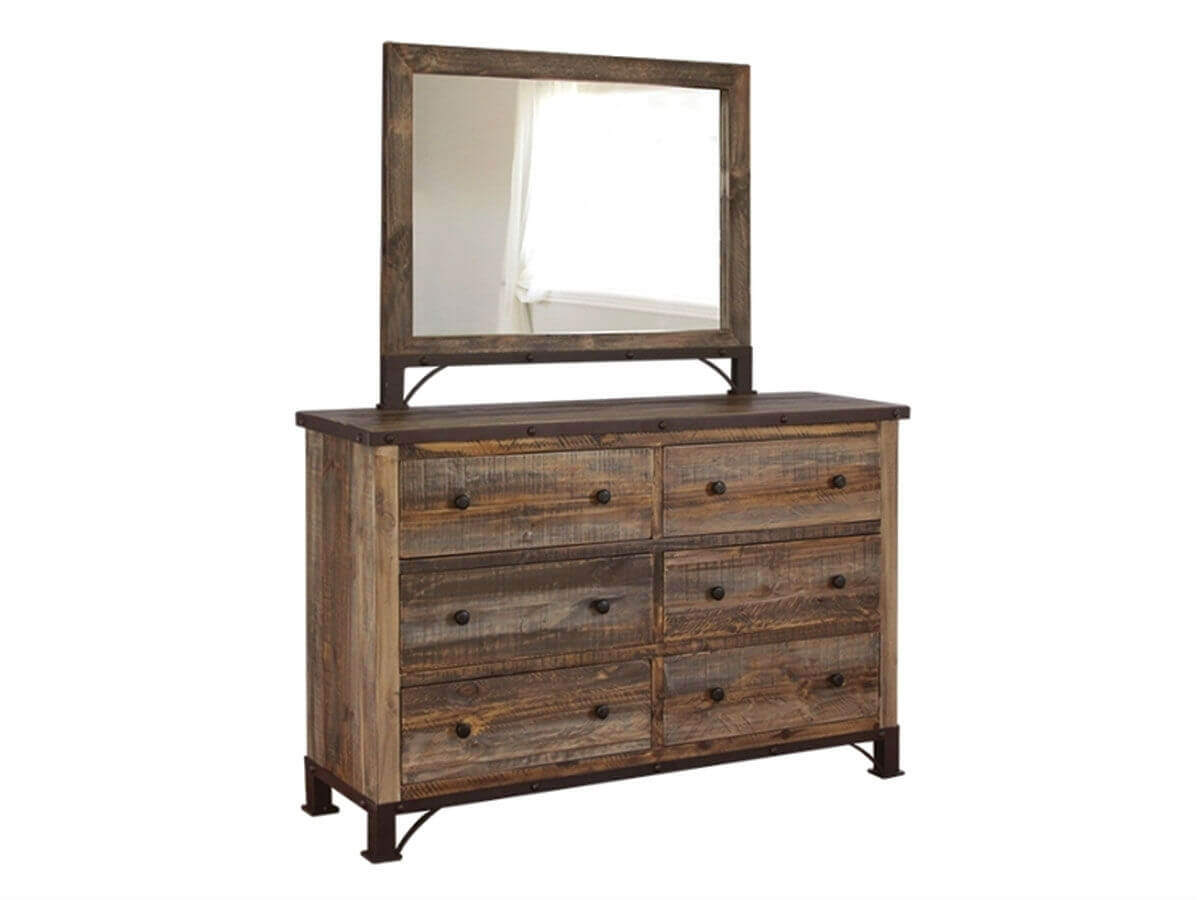 Antique Distressed Pine 6 Drawer Dresser by IFD