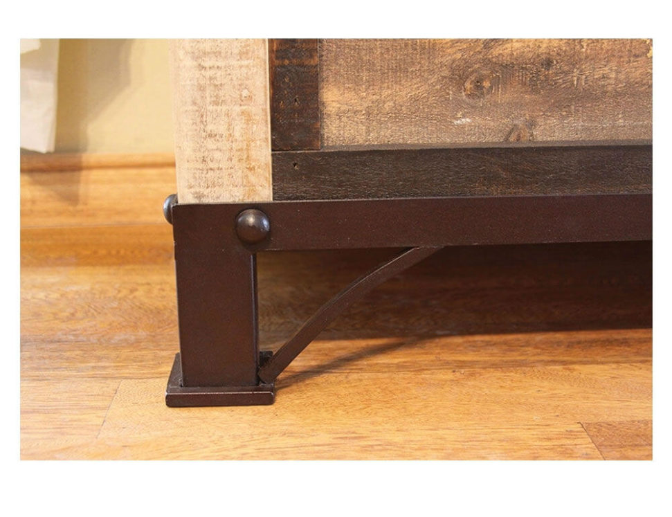 Antique Distressed Pine Blanket Chest Foot