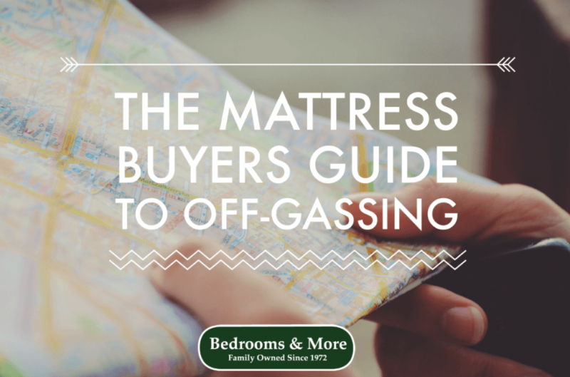 "photo of hands holding map with text overlay, ""The Mattress Buyers Guide to Off-Gassing"""