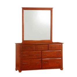 Night & Day Juniper 7 Drawer Dresser w/ Mirror (Cherry)